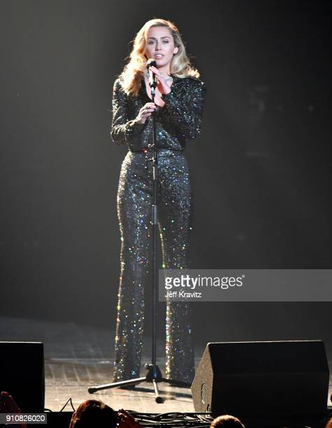 Recording artist Miley Cyrus performs onstage during MusiCares Person of the Year honoring Fleetwood Mac at Radio City Music Hall on January 26 2018...