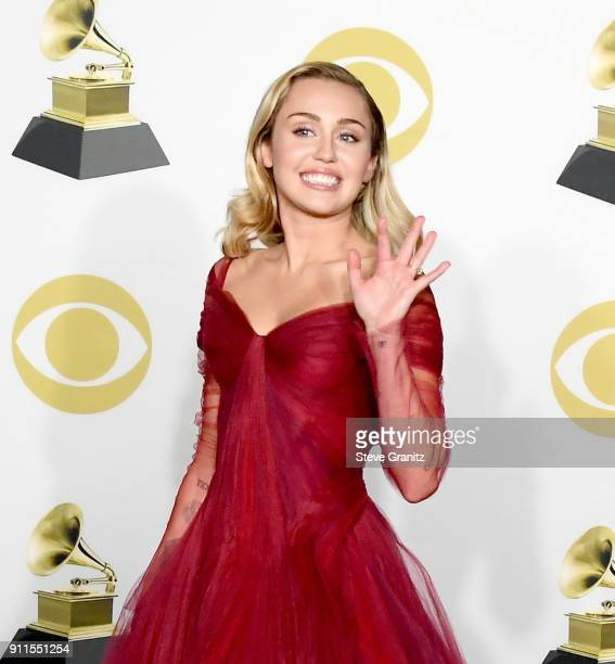 Recording artist Miley Cyrus poses in the press room during the 60th Annual GRAMMY Awards at Madison Square Garden on January 28 2018 in New York City