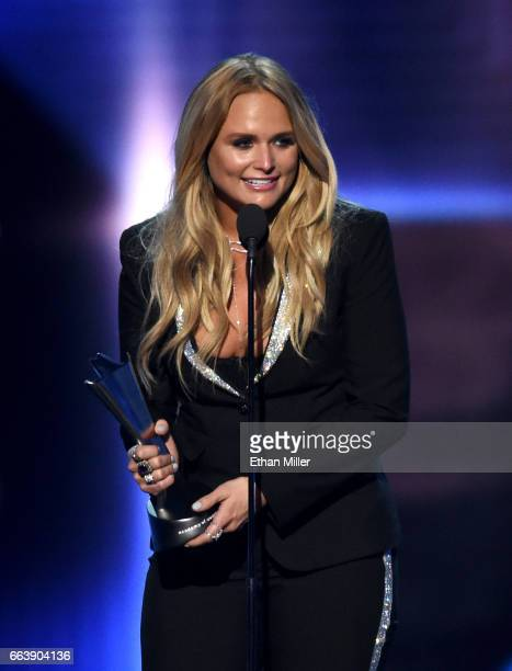 Recording artist Miranda Lambert accepts the award for Female Vocalist of the Year during the 52nd Academy of Country Music Awards at TMobile Arena...