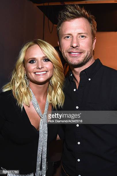 Recording artist Miranda Lambert and cohost Dierks Bentley attend the 51st Academy of Country Music Awards at MGM Grand Garden Arena on April 3 2016...