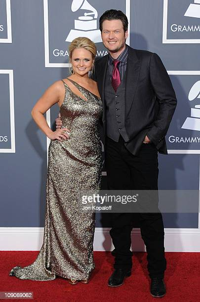 Recording artist Miranda Lambert and recording artist Blake Shelton arrive at The 53rd Annual GRAMMY Awards at Staples Center on February 13 2011 in...