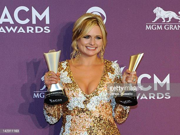 Recording artist Miranda Lambert poses in the press room at the 47th Annual Academy Of Country Music Awards held at the MGM Grand Garden Arena on...