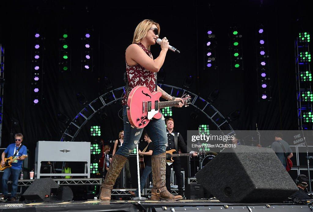 Recording artist Miranda Lambert rehearses onstage during ACM Presents: Superstar Duets at Globe Life Park in Arlington on April 18, 2015 in Arlington, Texas.
