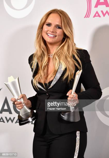 Recording artist Miranda Lambert winner of the award for Album of the Year and Female Vocalist of the Year poses in the press room during the 52nd...