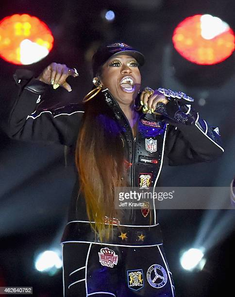 Recording artist Missy Elliott performs onstage during the Pepsi Super Bowl XLIX Halftime Show at University of Phoenix Stadium on February 1 2015 in...