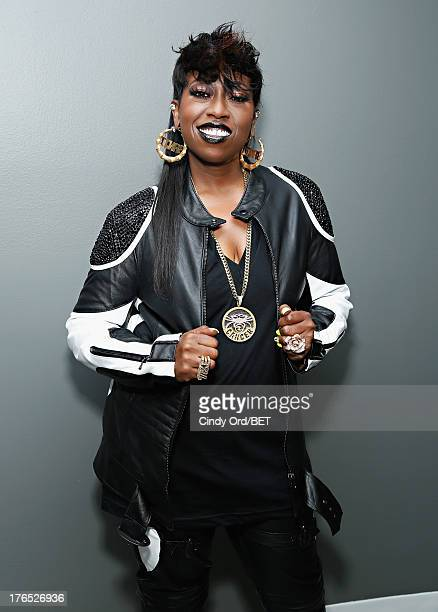 Recording artist Missy Elliott poses backstage at BET's '106 and Park' at BET Studios on August 14 2013 in New York City