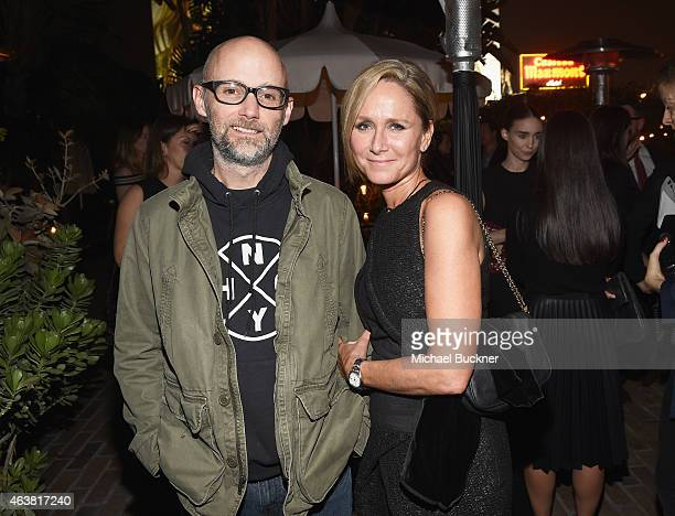 Recording artist Moby and Vanity Fair's Jennifer Parker attend VANITY FAIR and Barneys New York Dinner benefiting OXFAM hosted by Rooney Mara at...