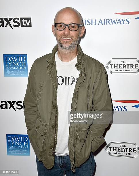 Recording artist Moby attends the David Lynch Foundation's DLF Live presents The Music Of David Lynch at The Theatre at Ace Hotel on April 1 2015 in...