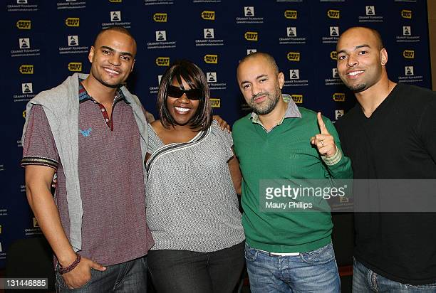 Recording artist Mohombi singer Kelly Price producer RedOne and Ray Parker lll attend The 53rd Annual GRAMMY Awards GRAMMY Career Day at USC on...