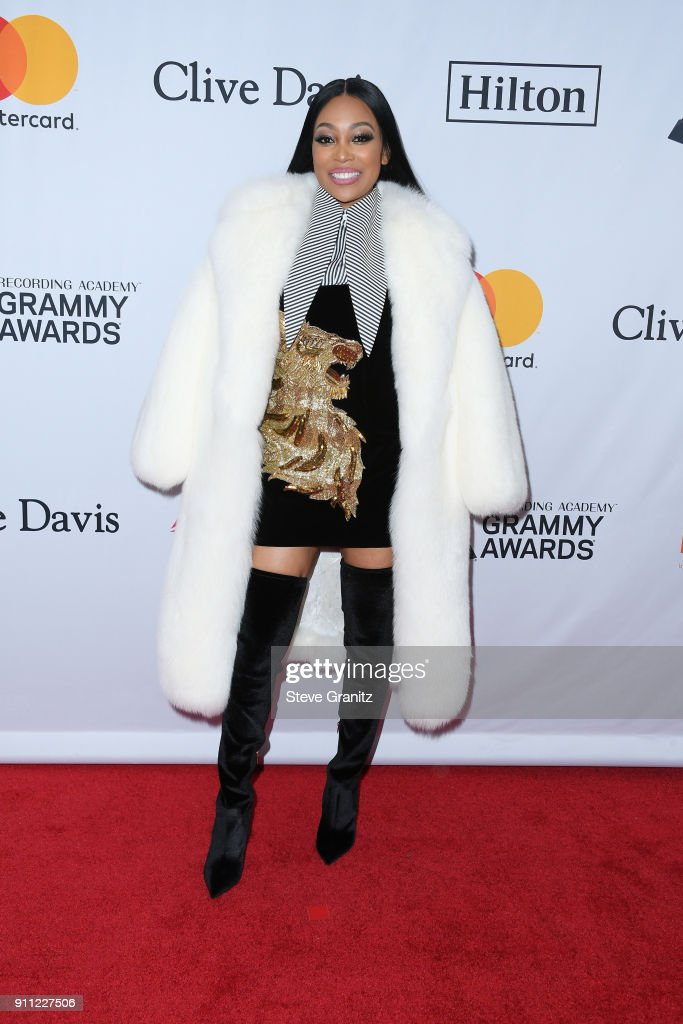 Recording artist Monica attends the Clive Davis and Recording Academy Pre-GRAMMY Gala and GRAMMY Salute to Industry Icons Honoring Jay-Z on January 27, 2018 in New York City.