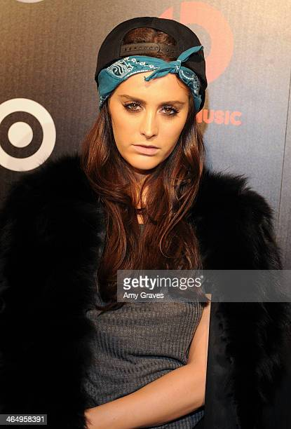 Recording artist Moxie Raia attends Beats Music Launch Party At Belasco Theatre at Belasco Theatre on January 24 2014 in Los Angeles California