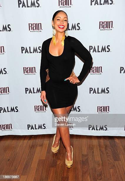 Recording artist Mya arrives to host an evening at the Rain Nightclub inside the Palms Casino Resort on January 13 2012 in Las Vegas Nevada