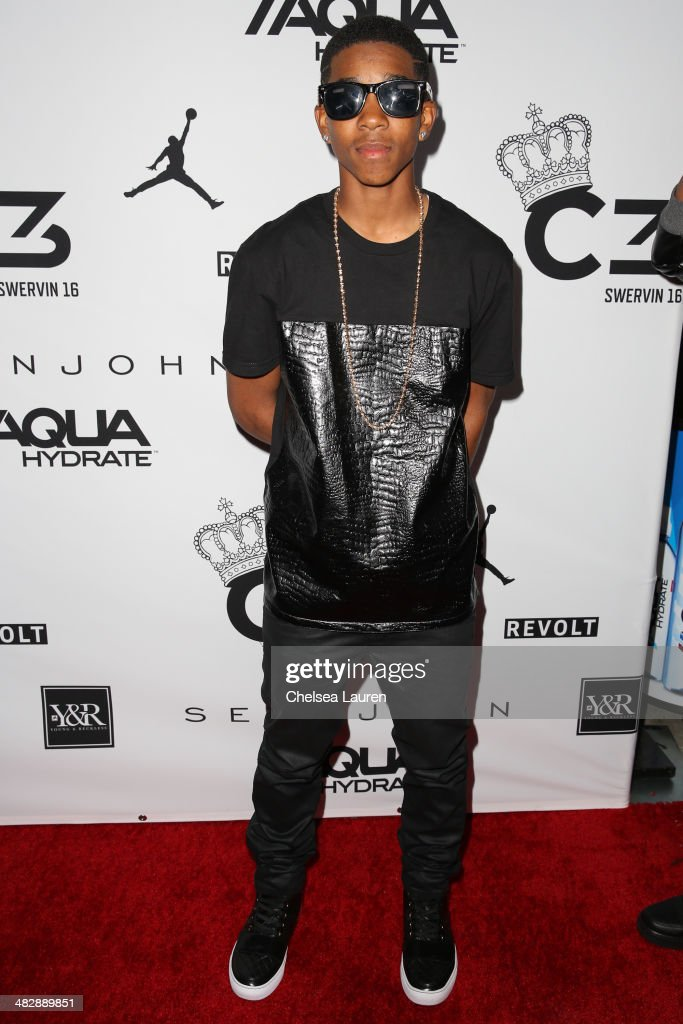 Recording artist Myles 'BigDeal' Brown arrives at Christian Casey Combs' 16th birthday party at 1OAK on April 4, 2014 in West Hollywood, California.