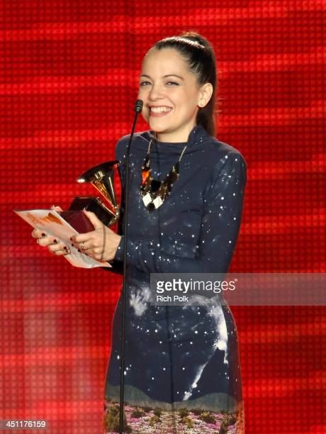 Recording artist Natalia Lafourcade accepts the award for Best Alternative Music Album for 'Mujer Divina Homenaje a Agustin Laraonstage' onstage...