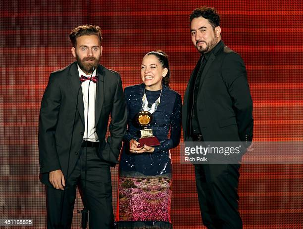 Recording artist Natalia Lafourcade director Juan Luis Covarrubias and producer Gonzalo Ferrari accept the award for Best Long Form Music Video for...