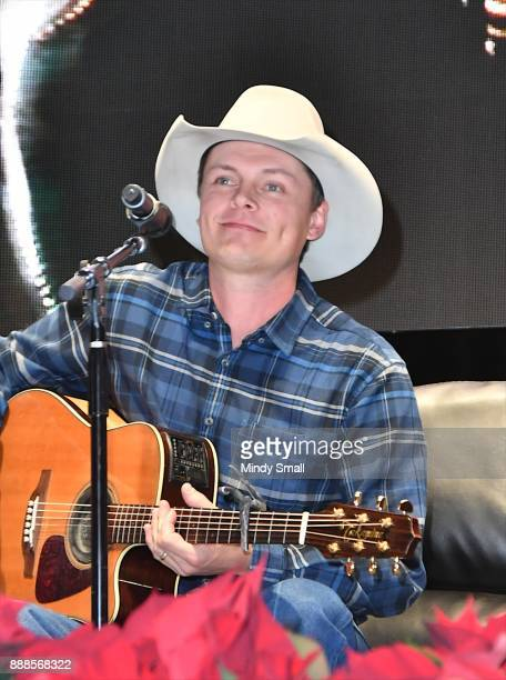 Recording artist Ned LeDoux performs during the Outside the Barrel with Flint Rasmussen show during the National Finals Rodeo's Cowboy Christmas at...