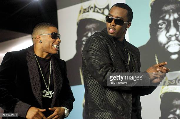 Recording artist Nelly and Sean Diddy Combs attend the Notorious BIG Duets Remix Video Shoot Day 2 at a private residence November 18 2005 in New...