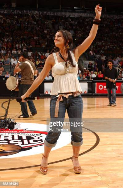 Recording Artist Nelly Furtado performs at halftime during the Steve Nash Foundation Charity Classic July 29 2005 at the Air Canada Centre in Toronto...