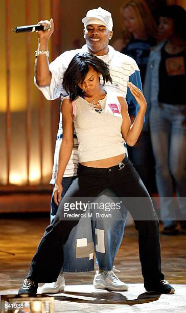 Recording artist Nelly performs during rehearsals at the Second Annual BET Awards on June 24 2002 in Los Angeles California