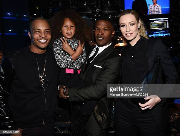 Recording artist NeYo Annalise Bishop actor Jamie Foxx and recording artist Iggy Azalea attend the 2014 American Music Awards at Nokia Theatre LA...