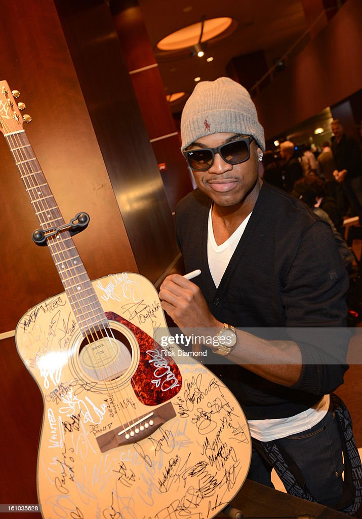 Recording artist Ne-Yo poses backstage at the GRAMMYs Dial Global Radio Remotes during The 55th Annual GRAMMY Awards at the STAPLES Center on February 8, 2013 in Los Angeles, California.