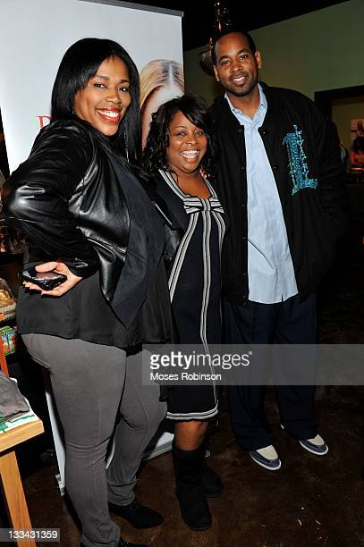 Recording artist Nicci Gilbert Jonell Whitt and former NBA player Derek Anderson attends the Demetria Mckinney official listening party at The Green...