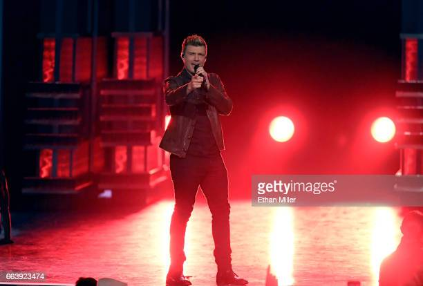 Recording artist Nick Carter of music group the Backstreet Boys performs onstage during the 52nd Academy of Country Music Awards at TMobile Arena on...