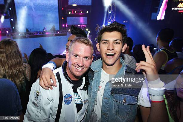 Recording Artist Nick Hissom and DJ Brad Roulier enjoy the 10th Annual Global Dance Festival at Red Rocks on July 21 2012 in Morrison Colorado
