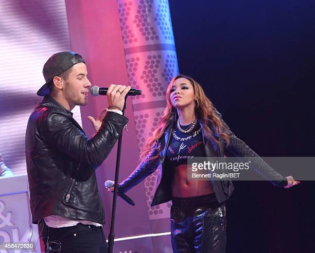 Recording artist Nick Jonas and Tinashe perform during 106 Park at BET studio on November 5 2014 in New York City