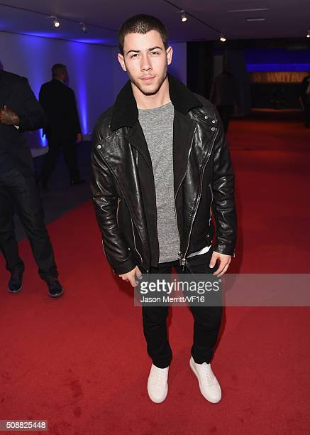 Recording artist Nick Jonas attends the Vanity Fair Super Bowl Party hosted by Graydon Carter Jon Bon Jovi Honors Super Bowl 50 Host Committee 50...