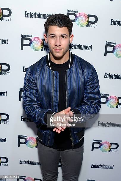 Recording artist Nick Jonas poses backstage at Entertainment Weekly's PopFest at The Reef on October 29 2016 in Los Angeles California