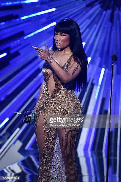 "Recording artist Nicki Minaj accepts the Best Hip Hop Video award for ""Anaconda"" onstage during the 2015 MTV Video Music Awards at Microsoft Theater..."