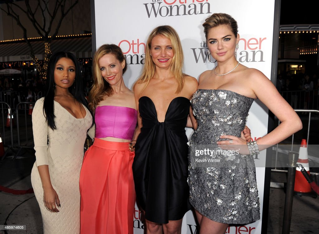 Recording artist Nicki Minaj, actors Leslie Mann, Cameron Diaz and Kate Upton attend the premiere of Twentieth Century Fox's 'The Other Woman' at Regency Village Theatre on April 21, 2014 in Westwood, California.