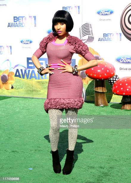 Recording artist Nicki Minaj arrives at the BET Awards '11 held at The Shrine Auditorium on June 26 2011 in Los Angeles California