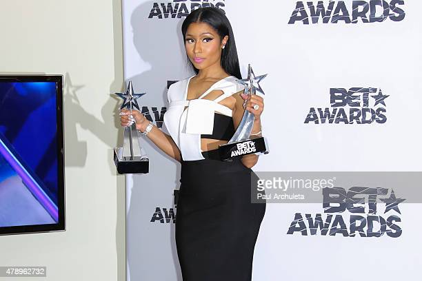 Recording Artist Nicki Minaj attends the 2015 BET Awards press room on June 28 2015 in Los Angeles California