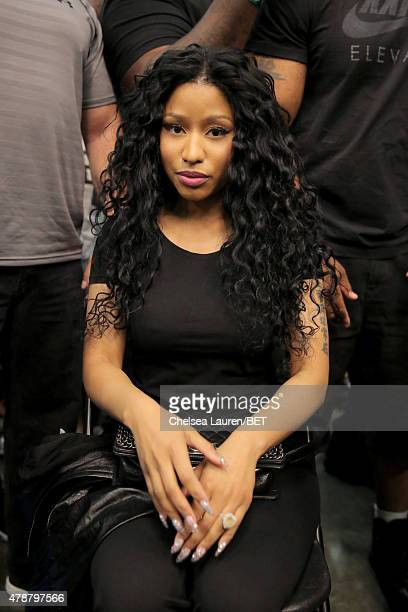 Recording artist Nicki Minaj attends the Sprite celebrity basketball game during the 2015 BET Experience at the Los Angeles Convention Center on June...
