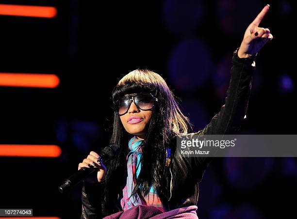 Recording artist Nicki Minaj performs onstage during day two of rehearsals for 'VH1 Divas Salute the Troops' presented by the USO at the MCAS Miramar...