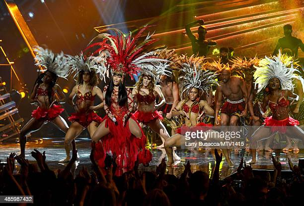 Recording artist Nicki Minaj performs onstage during the 2015 MTV Video Music Awards at Microsoft Theater on August 30 2015 in Los Angeles California