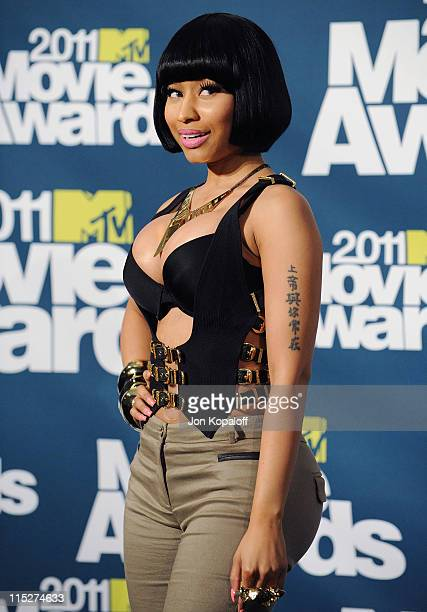 Recording Artist Nicki Minaj poses in the press room at the 2011 MTV Movie Awards at Gibson Amphitheatre on June 5 2011 in Universal City California