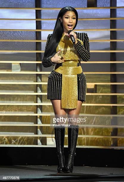 Recording artist Nicki Minaj speaks onstage at AE Networks Shining A Light concert at The Shrine Auditorium on November 18 2015 in Los Angeles...