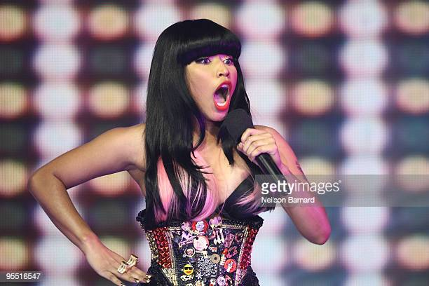 Recording artist Nicki Minaj visits and performs at BET's 106 PARTY's New Years Eve special at BET Studios on December 11 2009 in New York City