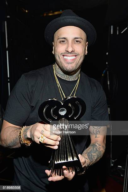 Recording artist Nicky Jam winner of 'Latin Song of the Year' for 'El Perdon' backstage at the iHeartRadio Music Awards which broadcasted live on TBS...