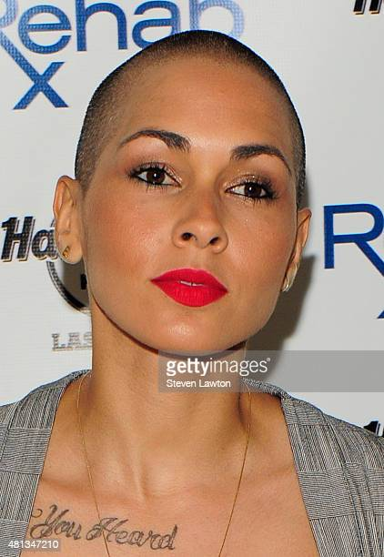 Recording artist Nicole Albino of Nina Sky arrives at the Hard Rock Hotel Casino during the resort's Rehab pool party on July 19 2015 in Las Vegas...