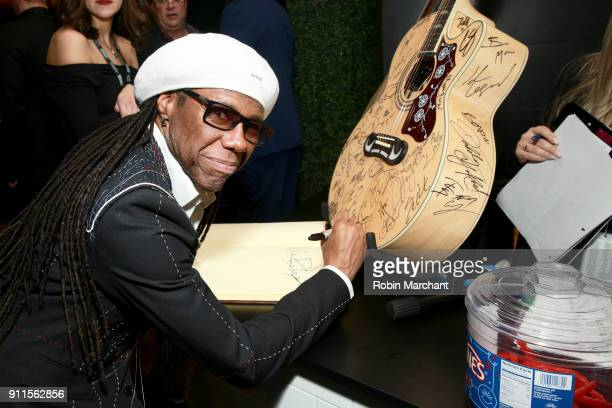 Recording artist Nile Rodgers with the GRAMMY Charities Signings during the 60th Annual GRAMMY Awards at Madison Square Garden on January 28 2018 in...