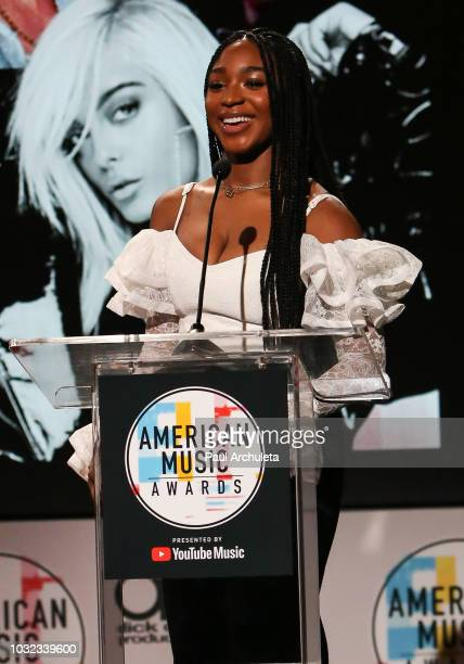 Recording Artist Normani attends the '2018 American Music Awards' nominations announcement at YouTube Space LA on September 12 2018 in Los Angeles...