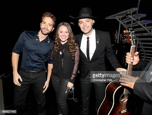 Recording artist Pablo Alboran musicians Joy Huerta and Jesse Huerta of the band Jesse y Joy attend the 15th Annual Latin GRAMMY Awards at the MGM...