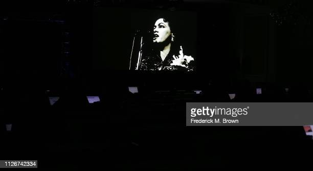 Recording artist Pasty Cline's image appears on the television monitor during the PBS segment of the 2019 Winter Television Critics Association Press...