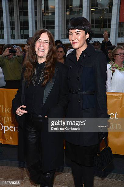 """Recording Artist Patti Smith and daughter Jesse Smith attend the 2012 Metropolitan Opera Season Opening Night performance of """"L'Elisir D'Amore"""" at..."""