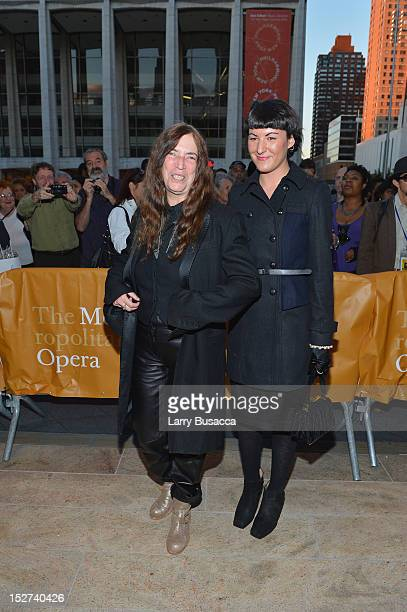 Recording Artist Patti Smith and daughter Jesse Smith attend the 2012 Metropolitan Opera Season Opening Night performance of L'Elisir D'Amore at The...