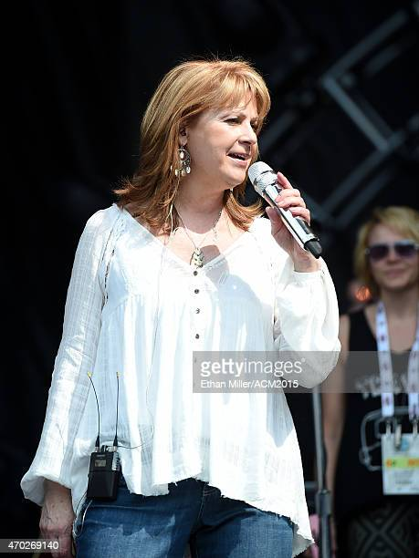 Recording artist Patty Loveless rehearses onstage during ACM Presents Superstar Duets at Globe Life Park in Arlington on April 18 2015 in Arlington...